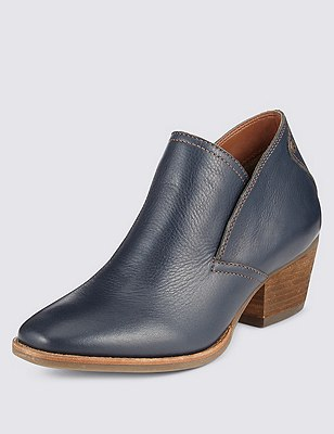 Leather Block Heel Ankle Boots with Insolia®, NAVY, catlanding