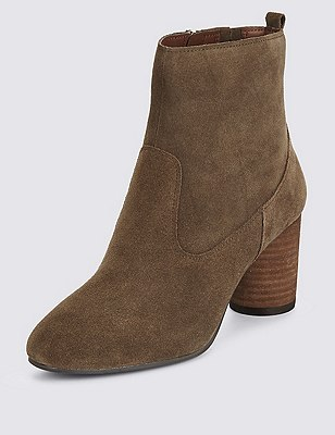 Stain Away™ Suede Block Heel Ankle Boots with Insolia®, KHAKI, catlanding