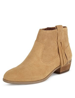 Stain Away™ Suede Tassel Ankle Boots with Insolia®, BISCUIT, catlanding