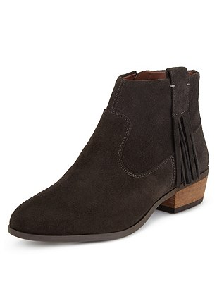 Stain Away™ Suede Tassel Ankle Boots with Insolia®, GRAPHITE, catlanding