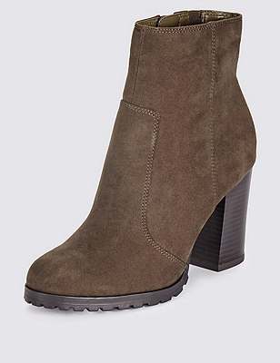 Faux Suede Block Heel Ankle Boots with Insolia®, KHAKI, catlanding