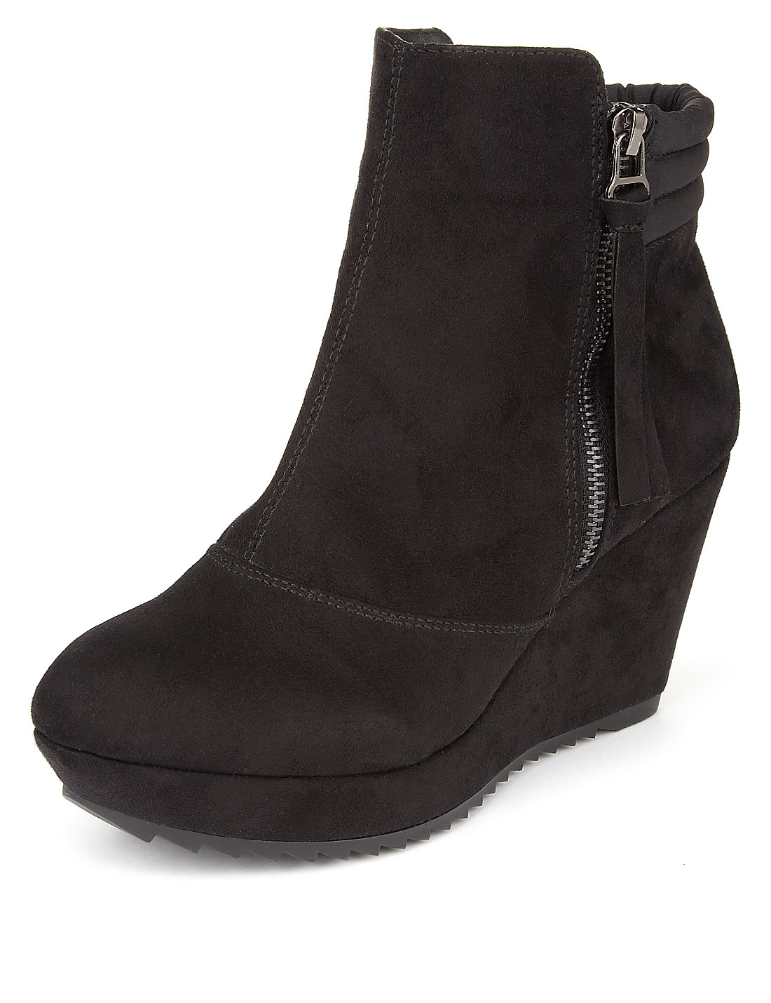 Mock Suede Platform Wedge Ankle Boots with Insolia® | M&S