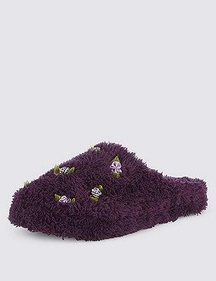 Floral Corsage Mule Slippers, DARK PURPLE, catlanding