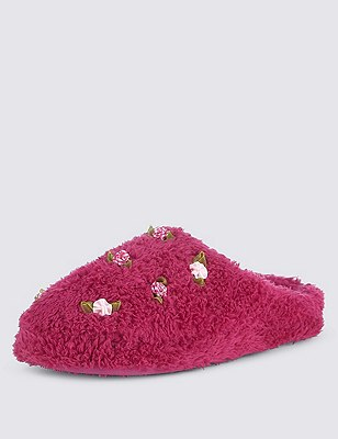 Floral Corsage Mule Slippers, CRANBERRY, catlanding