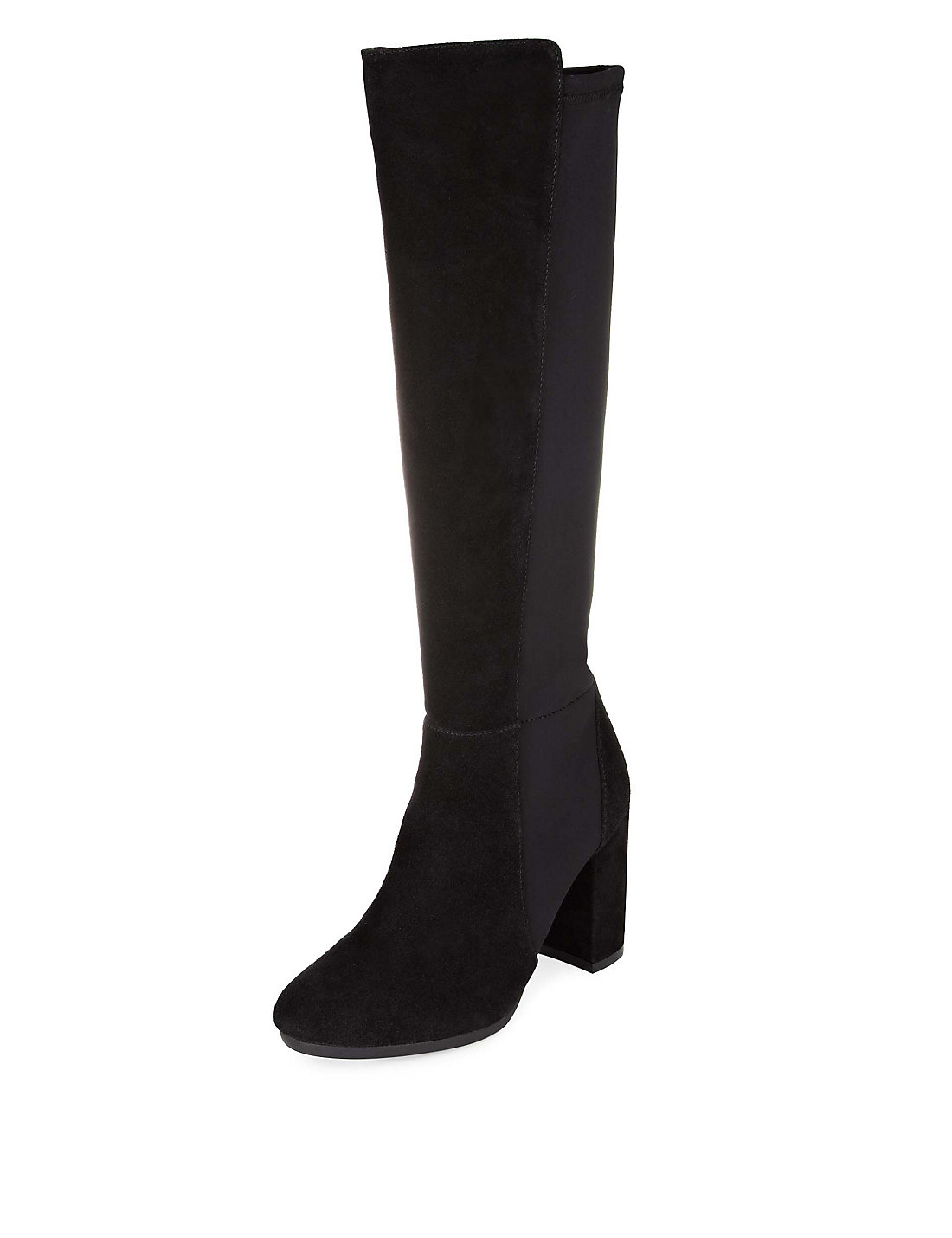 Faux Suede Stretch Block Heel Knee High Boots with Insolia® | M&S