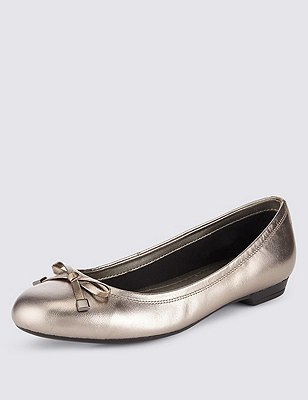 Freshfeet™ Leather Wide Fit Flat Bow Pumps with Insolia Flex®, PEWTER, catlanding