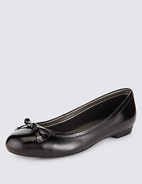 Freshfeet™ Leather Wide Fit Flat Bow Pumps with Insolia Flex®
