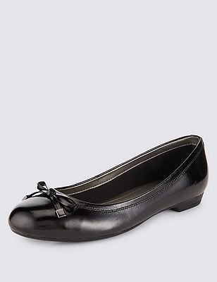 Freshfeet™ Leather Wide Fit Flat Bow Pumps with Insolia Flex®, BLACK PATENT, catlanding