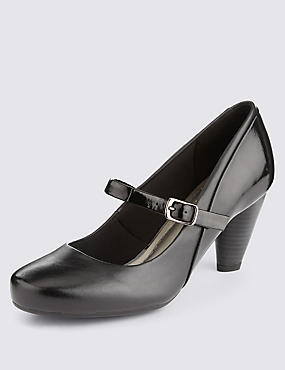 Freshfeet™ Leather Wide Fit Dolly Court Shoes with Insolia®, BLACK MIX, catlanding