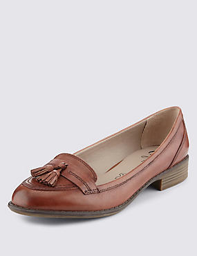 Wide Fit Leather Block Heel Tassel Loafers, TAN, catlanding