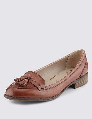 Leather Wide Fit Flat Tassel Loafers, TAN, catlanding
