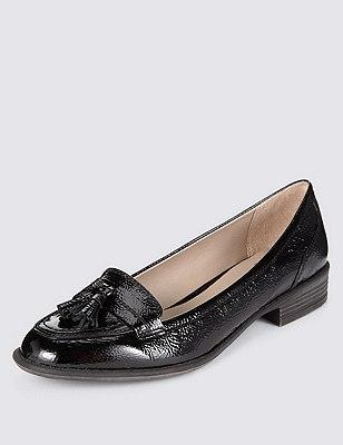 Leather Wide Fit Flat Tassel Loafers, BLACK PATENT, catlanding