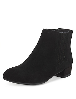 Suede Wide Fit Chelsea Ankle Boots with Stain Away™ Clothing