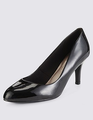 Wide Fit Almond Toe Court Shoes with Insolia®, BLACK PATENT, catlanding