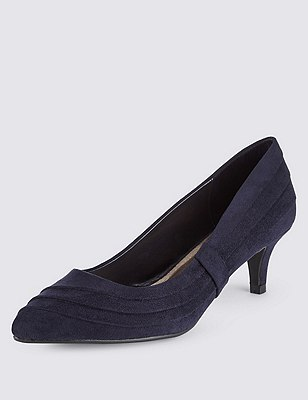 Wide Fit Pointed Toe Side Ruched Court Shoes with Insolia®, NAVY, catlanding