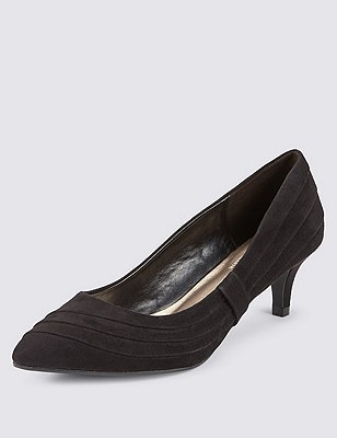 Wide Fit Pointed Toe Side Ruched Court Shoes with Insolia®, BLACK, catlanding