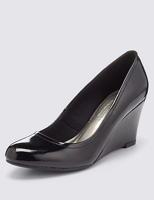 Freshfeet™ Leather Wedge Shoes with Insolia®, BLACK PATENT, catlanding