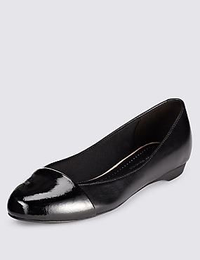 Leather Toe Cap Pumps with Insolia Flex®