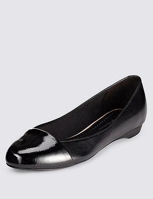 Leather Toe Cap Pumps with Insolia Flex® , BLACK, catlanding