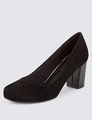 Suede Freshfeet™ Suede Mid Heel Court Shoes with Insolia® & Silver Technology, BLACK, catlanding