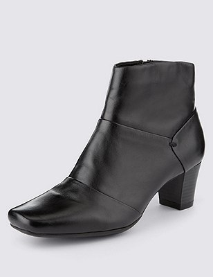 Leather Panelled Ankle Boots with Insolia®, BLACK, catlanding