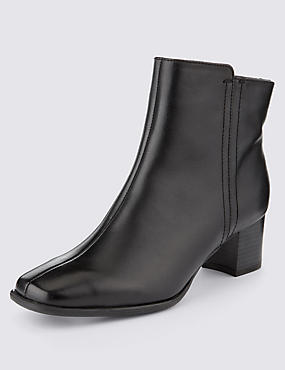 Leather Wide Fit Block Heel Ankle Boots with Insolia®