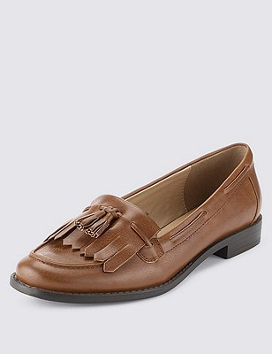 Fringe Trim Tassel Loafers with Insolia Flex®, TAN, catlanding