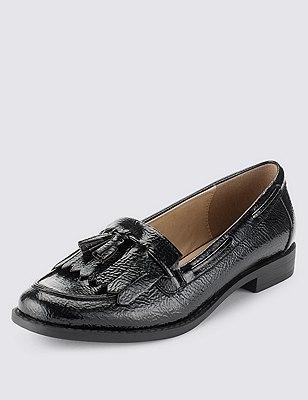 Fringe Trim Tassel Loafers with Insolia Flex®, BLACK PATENT, catlanding
