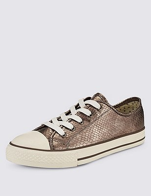 Lace Up Plimsolls with Insolia Flex®, BRONZE, catlanding