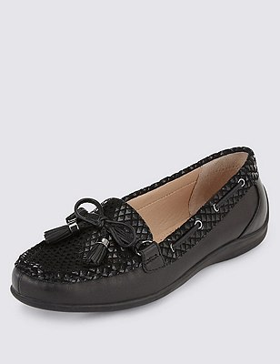 Leather Tassel Boat Shoes, BLACK MIX, catlanding