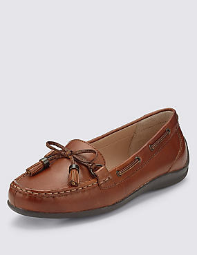 Leather Tassel Flat Boat Shoes, TAN, catlanding