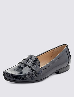 Leather Flat Penny Loafers , NAVY, catlanding