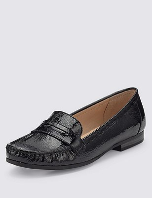 Leather Flat Penny Loafers , BLACK PATENT, catlanding