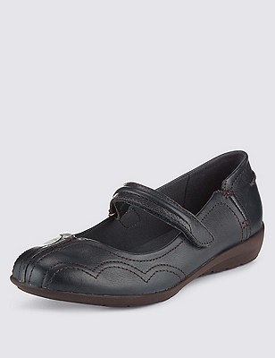 Leather Dolly Flat Court Shoes, NAVY, catlanding
