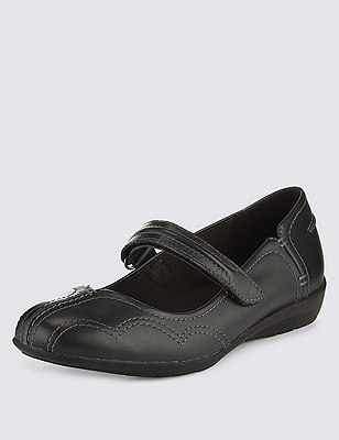 Leather Dolly Flat Court Shoes, BLACK, catlanding