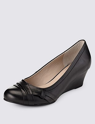 Leather Pleated Wedge Court Shoes, BLACK, catlanding