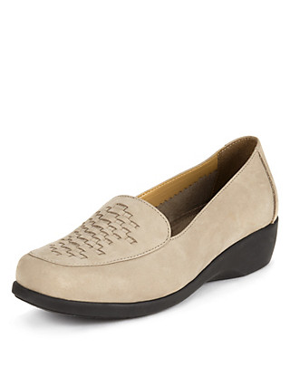Leather Wide Fit Loafers Clothing
