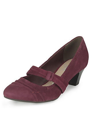 Suede Wide Fit Court Shoes with Stain Away™ Clothing