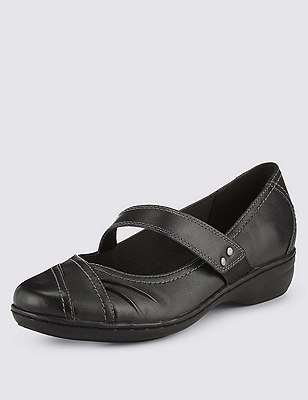 Leather Wide Fit Flat Casual Dolly Court Shoes, BLACK, catlanding