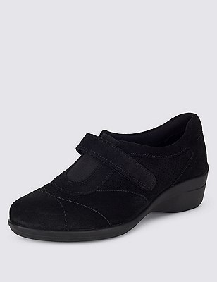 Stain Away™ Suede Wide Fit Sporty Riptape Wedge Trainers, BLACK, catlanding