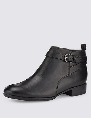 Leather Trimmed Ankle Boots, BLACK, catlanding