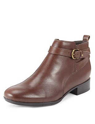 Leather Trimmed Ankle Boots, CHOCOLATE, catlanding