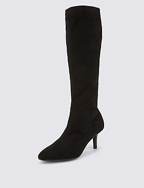Pointed Toe Stretch Long Boots with Insolia®, BLACK, catlanding
