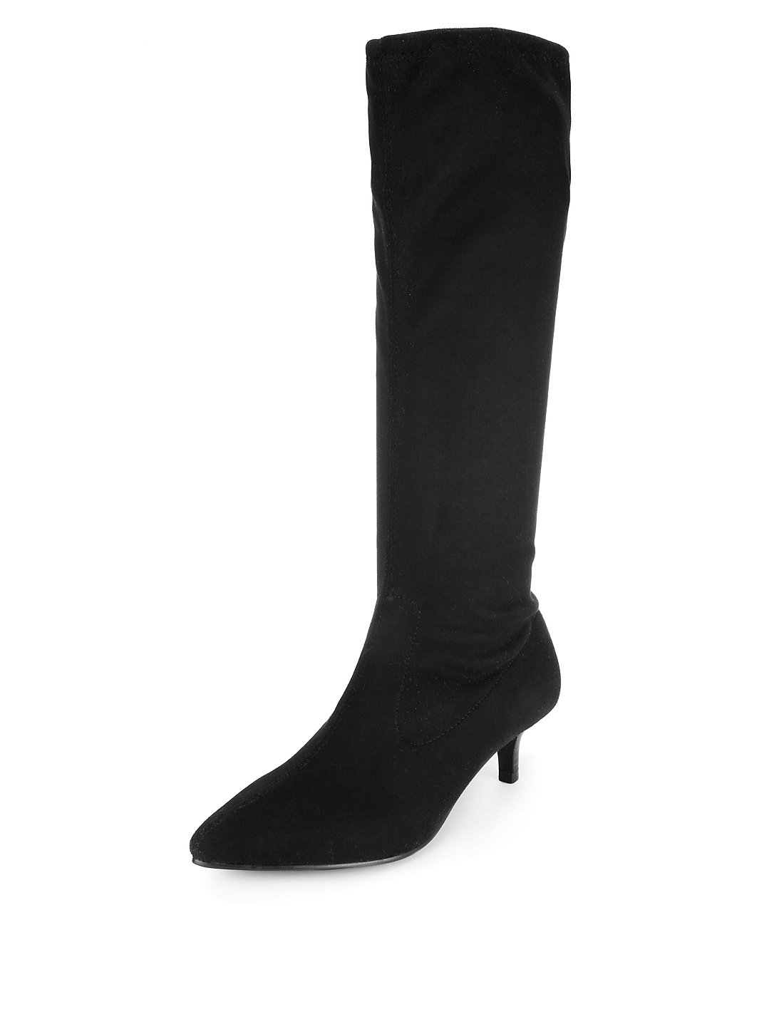 Pointed Toe Kitten Heel Boots