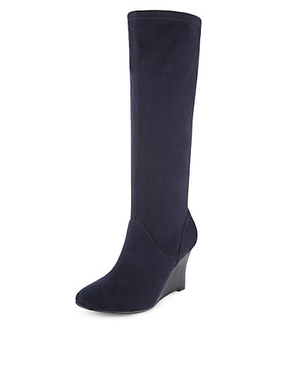 wide fit wedge heel stretch boots with insolia 174 m s