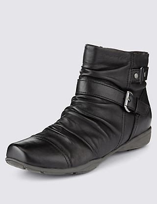 Leather Wide Fit Ruched Ankle Boots Clothing