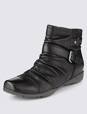Leather Wide Fit Ruched Ankle Boots