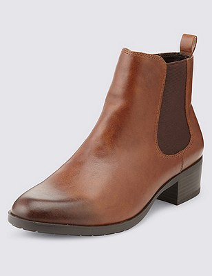 Leather Wide Fit Chelsea Ankle Boots, TAN, catlanding