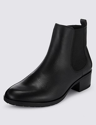 Leather Wide Fit Chelsea Ankle Boots, BLACK, catlanding