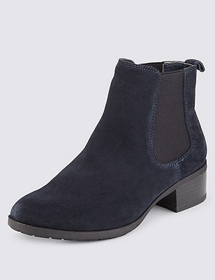 Stain Away™ Suede Wide Fit Chelsea Ankle Boots, NAVY, catlanding
